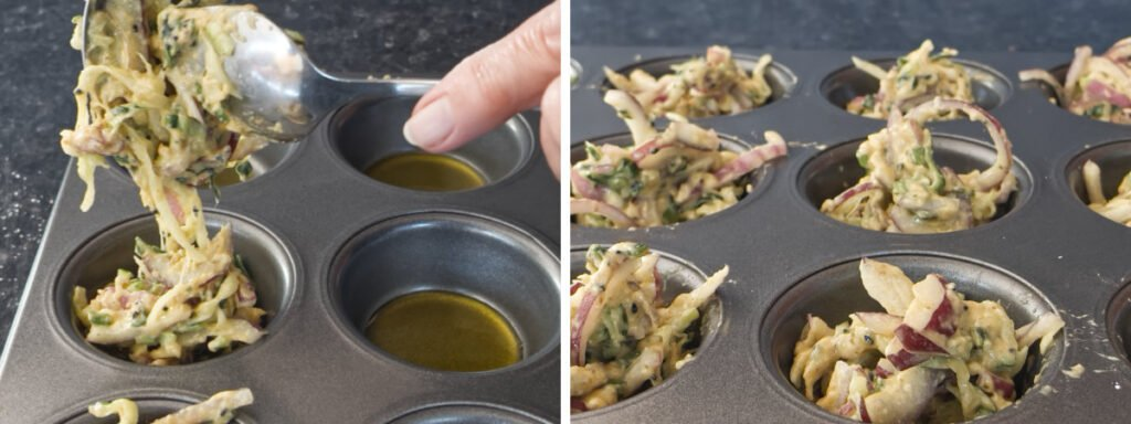 Two images to showing the batter being spooned into the muffin tin.