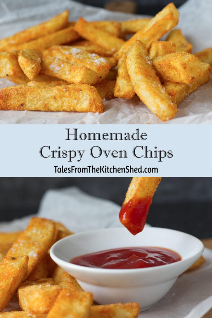 Images of homemade crispy oven chips with a dip of tomato ketchup.