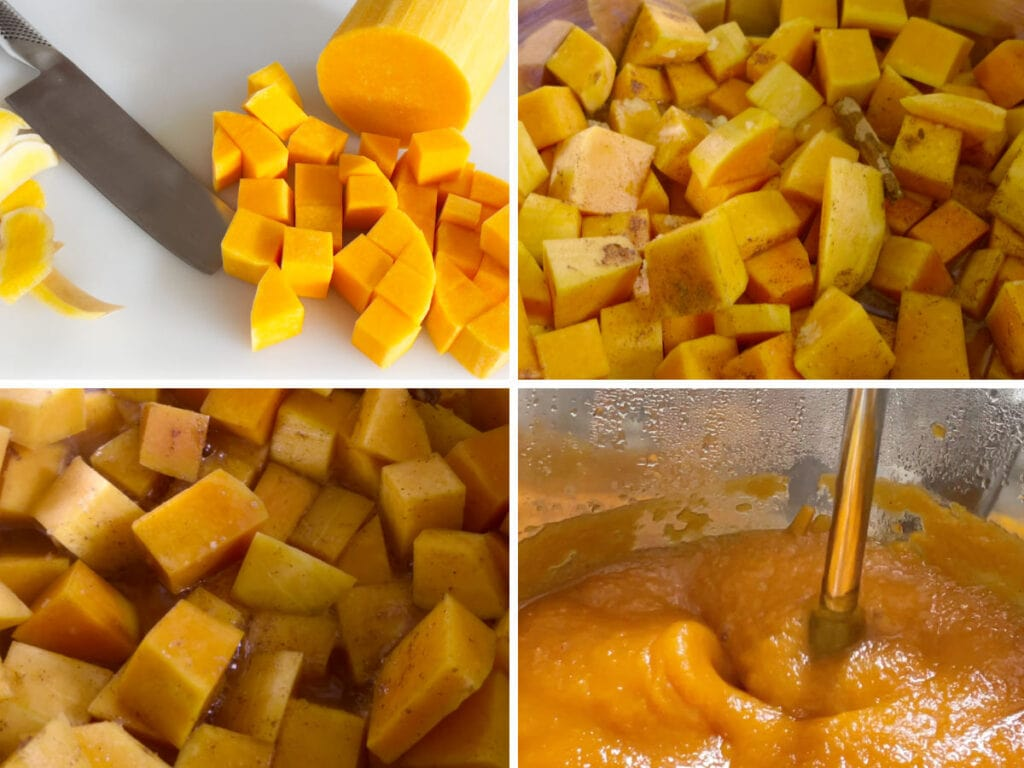 Images showing cutting, cooking and pureeing pumpkin.