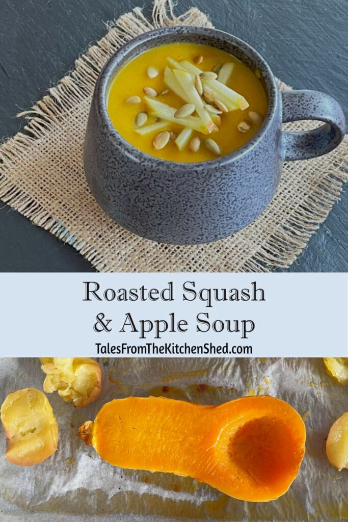 A mug of soup with an image of roasted squash and apples below.