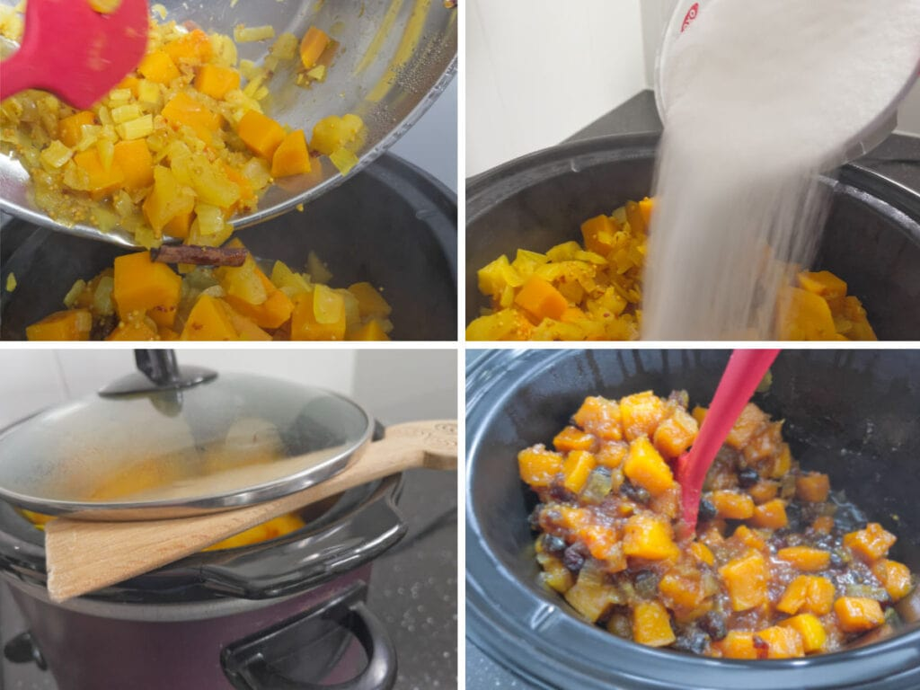 A set of four images showing a pan pouring into the slow cooker, sugar being added, how the lid should be propped open and the final look of the chutney.