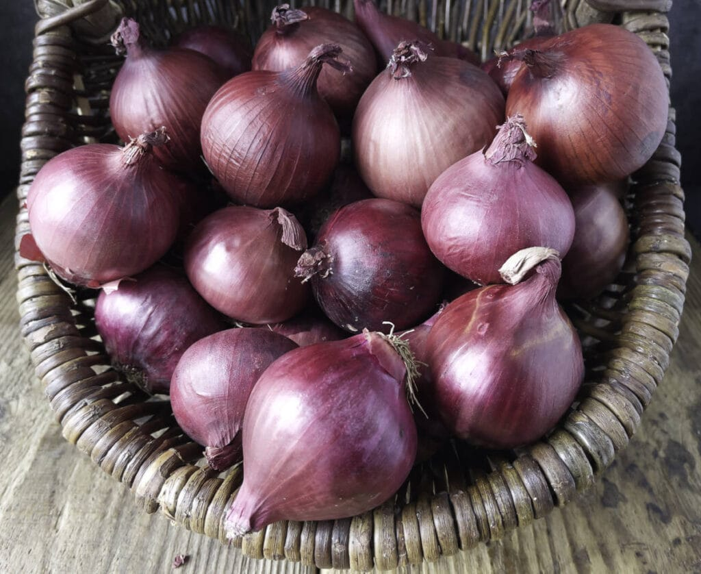 A basket filled with red onions.