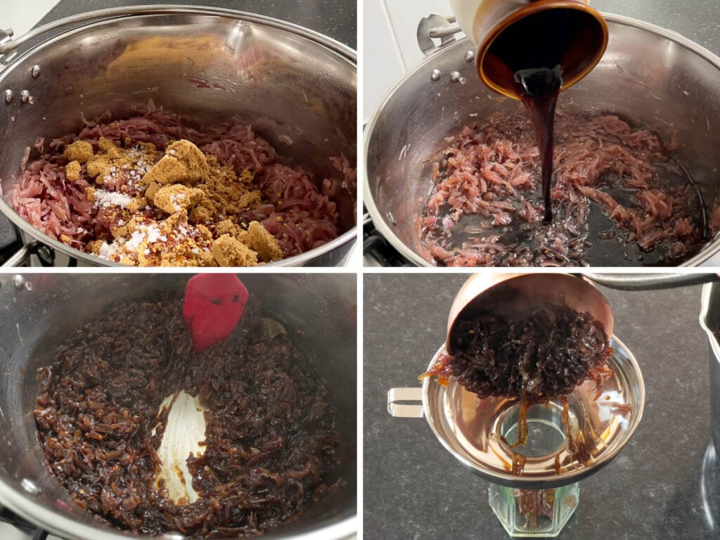 A collage of images showing sugar and vinegar added to the pan and the finished ladling into jars.