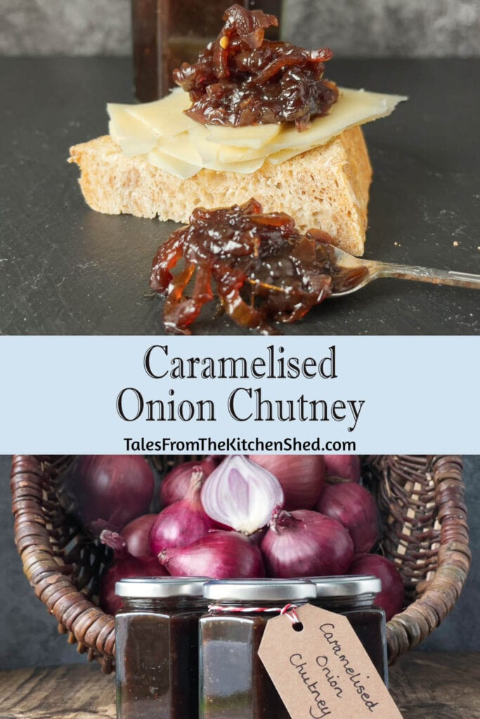Top image is of cheese and bread with a spoon of onion chutney. Bottom image is of red onions with jars of chutney.
