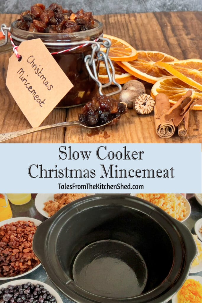 Top image is of an open jar of mincemeat with a spoon surrounded by dried orange slices and spices. Bottom image is of an empty slow cooker surrounded by plates of ingredients..